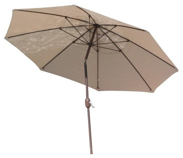 9 Round Umbrella Aluminium Pole Dupione Laurel Sunbrella Cushion