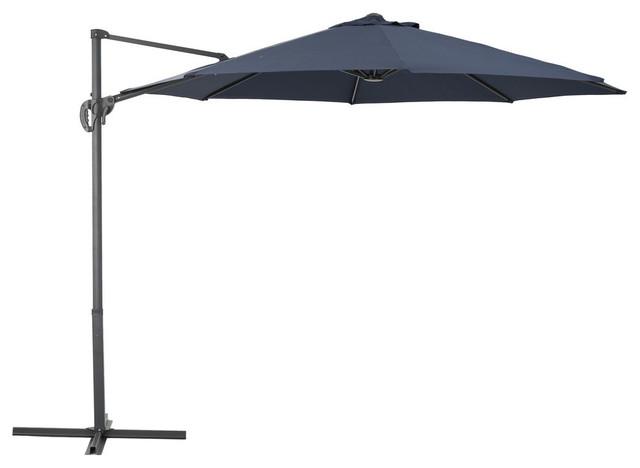 GDF Studio Persephone Outdoor Steel Frame Banana Sun Canopy, Blue