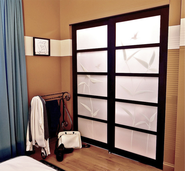 Beautiful Patterned Shoji Screen Sliding Closet Doors Contemporary