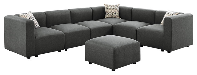 Copley Modular Sectional Sofa with Ottoman in Steel Gray Linen