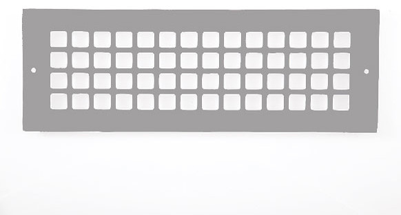 "Aluminum Grid Pattern Grille, Gray, 4""x14""."