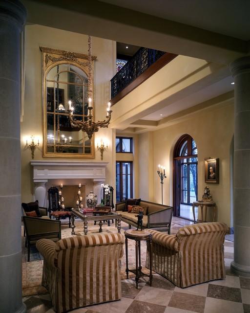 Barton creek italian villa living room mediterranean for Italian villa interior