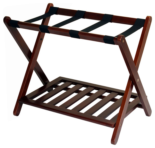 Attractive Luggage Rack With Shelf, Walnut Contemporary Clothing Valets And Suit