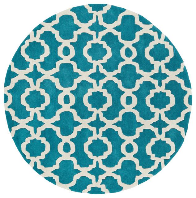 Kaleen Helena Turquoise Rug: Kaleen Hand Tufted Revolution Teal Wool Rug