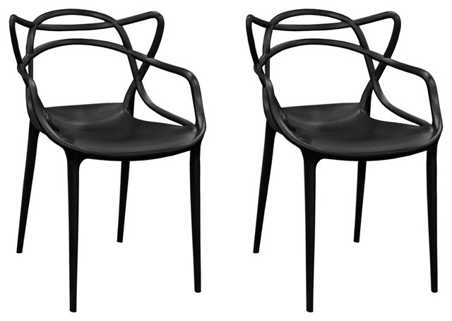 Mod Made Modern Plastic Loop Dining Chair, Set Of 2 (black).