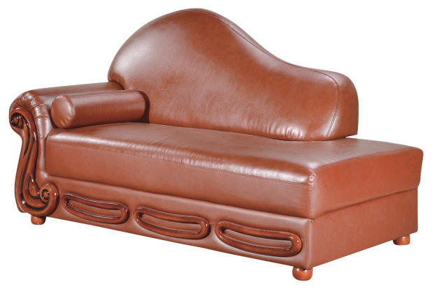Bella leather chaise traditional indoor chaise lounge for Brown chaise lounge indoor