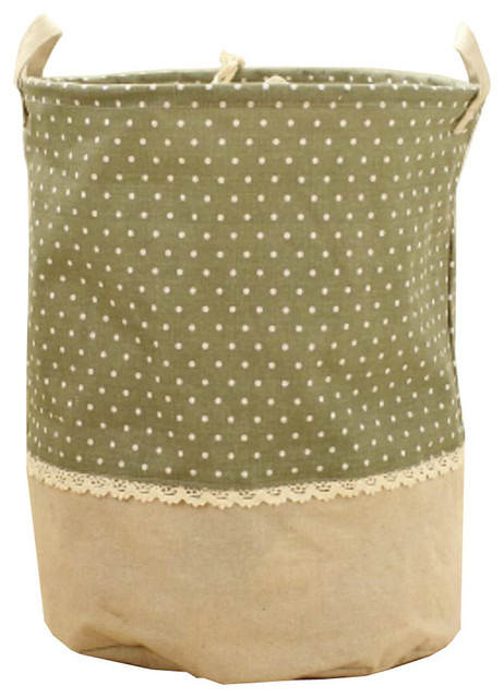 Waterproof Household Laundry Basket Linen Patchwork Laundry Bag, Green.