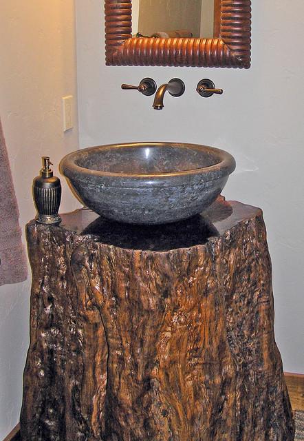 Black Marble Sink On Lychee Fruit Tree Trunk Vanity