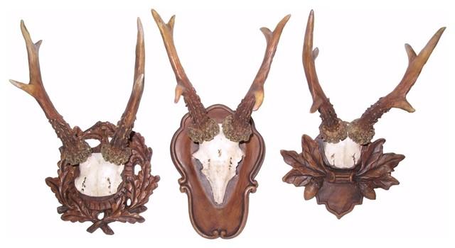 roe deer antler wall plaques set of 3