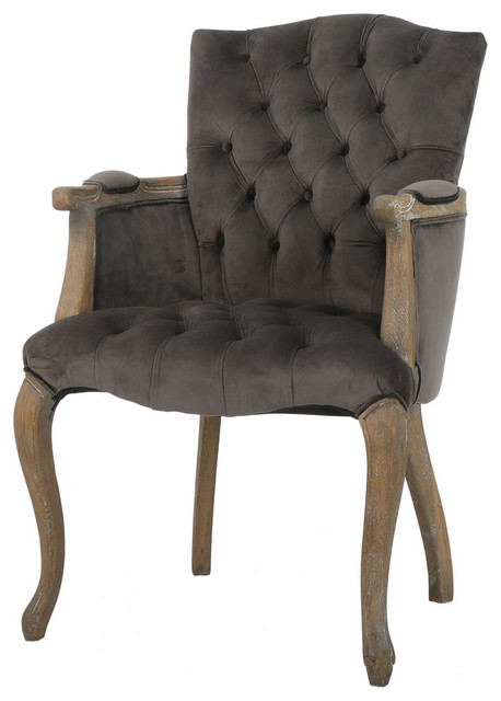 GDF Studio Ritner Charcoal Velvet Arm Dining Chair