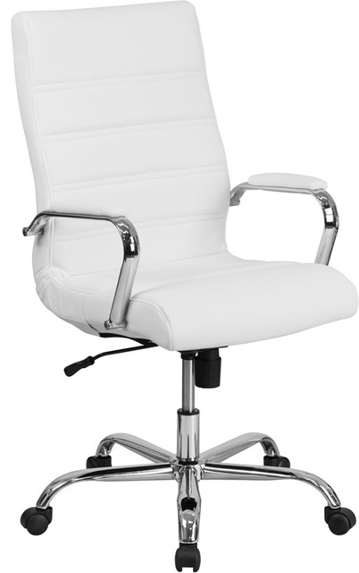 Flash High Back White Leather Executive Swivel Office Chair With Chrome Arm.