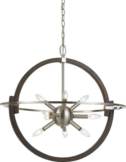 Cicero Pendant Lamp - Brushed Steel/wood.
