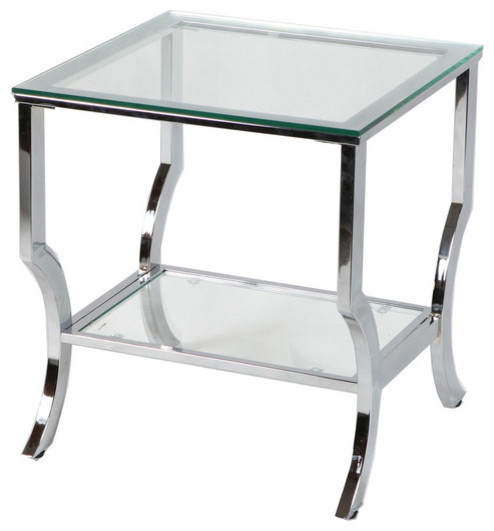 Amy Glass End Table Chrome Contemporary Side Tables And End