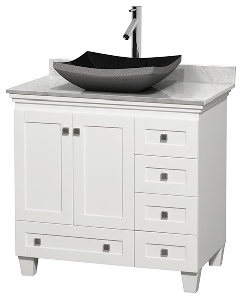 36 Acclaim White Single Vanity White Carrera Top And Altair Black Gran