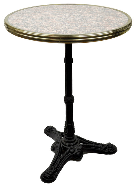 French Bistro Table, Grey/Pink Granite And Iron Base Traditional Indoor Pub