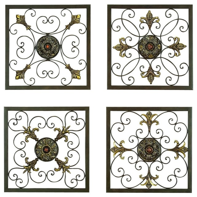 "Metal Wall Plaque, 16"", 16"", 4-Piece Set."