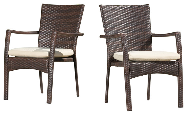 Melba Outdoor Brown Wicker Dining Chairs With Beige Cushions Set Of 2
