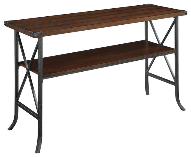 Brookline Console Table, Dark Walnut/slate Gray Frame
