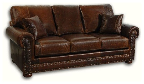 Western style leather loveseat reviews houzz for Traditional leather sofa bed