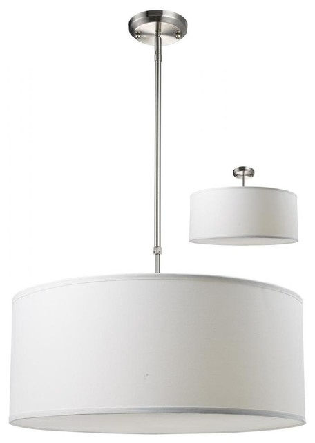 Three Light Brushed Nickel White Linen Shade Drum Pendant