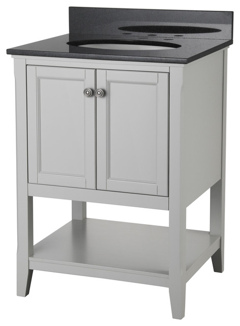 Auguste Bathroom Vanity With 2 Doors and Shelf  Gray  24  transitional  bathroom. Wolf Bath Auguste 24  Bathroom Vanity  Grey With Two Doors And