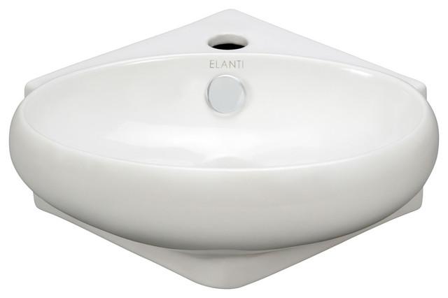 Porcelain Corner Wall-Mounted Oval Sink.
