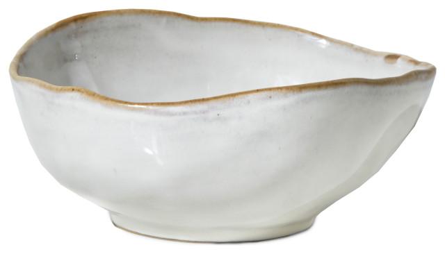 Medium Teal and Brown Ceramic Bowl w White Embossed Rim