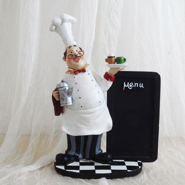 Chef Kitchen Chalk Board Table Top Art Statue Bistro Cooking Traditional Home Decor
