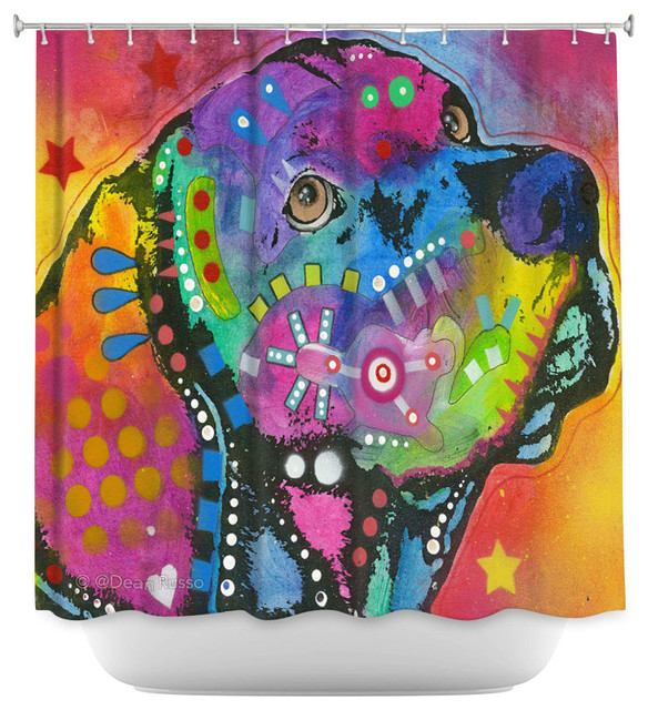 DiaNoche Designs Shower Curtain By Dean Russo   Psychedelic Labrador Dog  Eclectic Shower Curtains