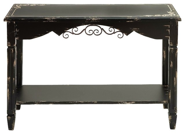 Brown Wood Console Table Distressed Beige Scroll Storage Shelf Decor 20232