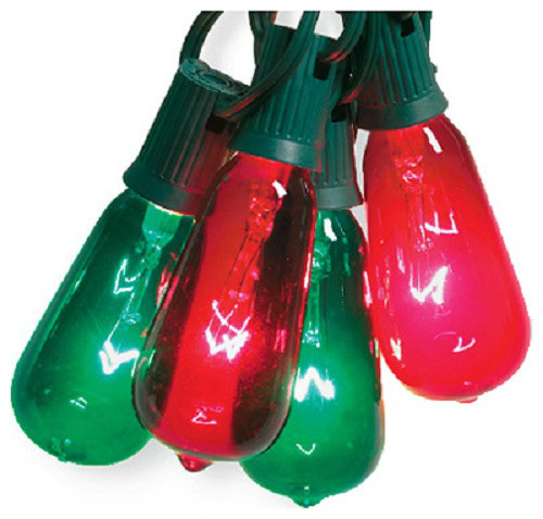 Sylvania V51597 Christmas Elongated Gl St40 Edison 10 Light Set Green Red Contemporary Holiday Lighting By Toolbox Supply