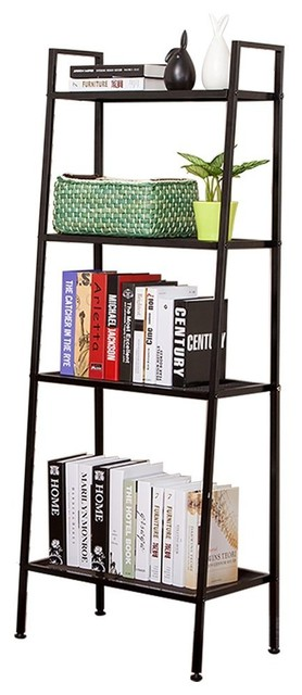 Js Home 4-Tier Ladder Bookshelf, Black.