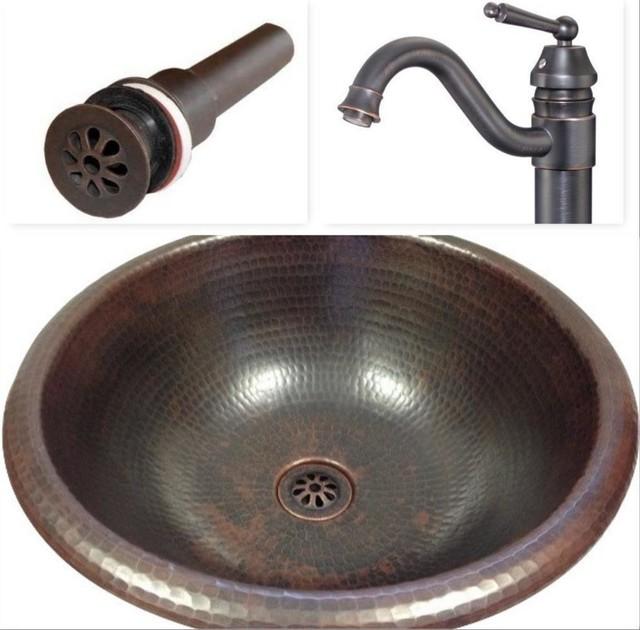 "15"" Round Copper Vessel Vanity Sink, Faucet & Drain Combo."
