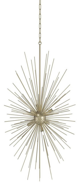 Starburst 6 Led Light Foyer Pendant, Soft Gold With Clear Crystal.