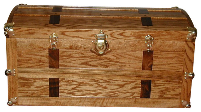 steamer trunk oak with walnut accents bright brass hardware
