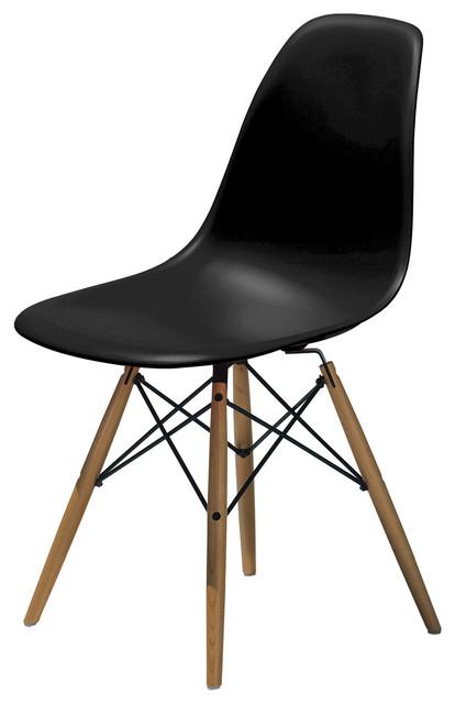 Elegant Molded Plastic Side Chair Wood Leg Base Black Shell By Lemoderno, Black  Shell, Q