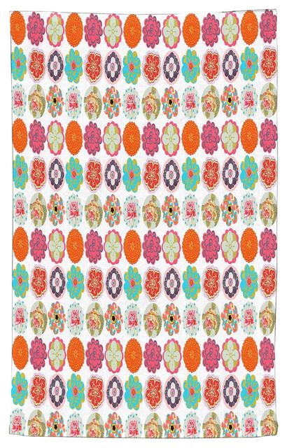 Astounding Flower Circles Pattern Kitchen Towel Cotton 18X30 Home Interior And Landscaping Eliaenasavecom
