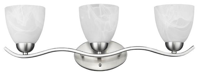 "Undine 3-Light Brushed Nickel Bath Vanity Wall Fixture White Alabaster Glass 24"""