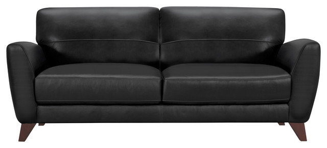 Jedd Contemporary Sofa, Genuine Black Leather With Brown Wood Legs.
