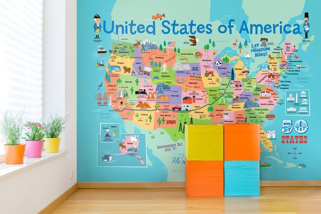 Kids USA Map Wallpaper Mural - Contemporary - Kids Wall Decor - by ...