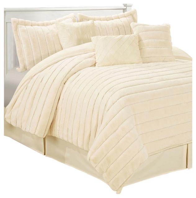 rabbit faux fur 7 piece comforter set antique white queen traditional comforters - Comforters Queen