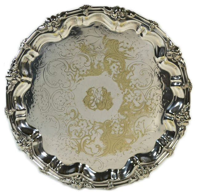 Consigned 19th Century Silver Plated Tray On Feet