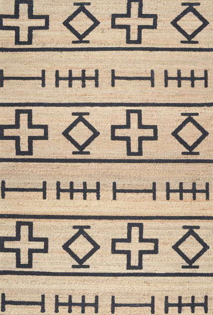 Hand-Loomed Geometric Native Symbol Rug, Natural, 8'x10'