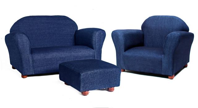 Keet Roundy Denim Children S Chair Sofa And Ottoman Set Blue Kids