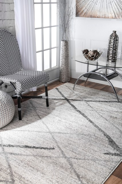"""nuLOOM Thigpen Striped Contemporary Area Rug, Gray, 7'6""""x7'6"""""""