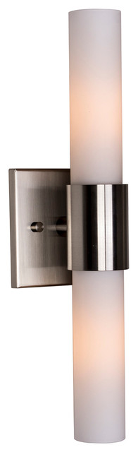 Bathroom Vanity Lights Vertical vertical vanity light, matte nickel and opal frosted glass
