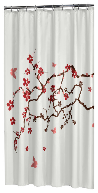 Extra Long Shower Curtain 72x78 Sealskin Blossom Print White Fabric
