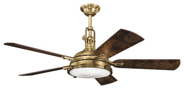 "56"" Hatteras Bay Fan, Burnished Antique Brass/poplar Burl/elm Burl Blade."