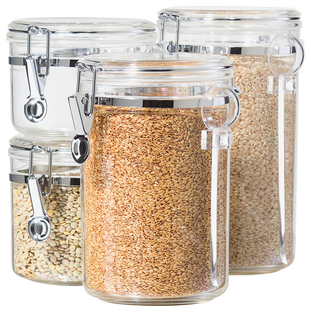 Oggi Corporation Clear Acrylic Canister With Spoon 4-Piece Set