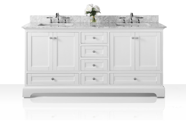 """Audrey White Vanity Set With Silver Hardware, Top: Carrara Marble, 72"""""""